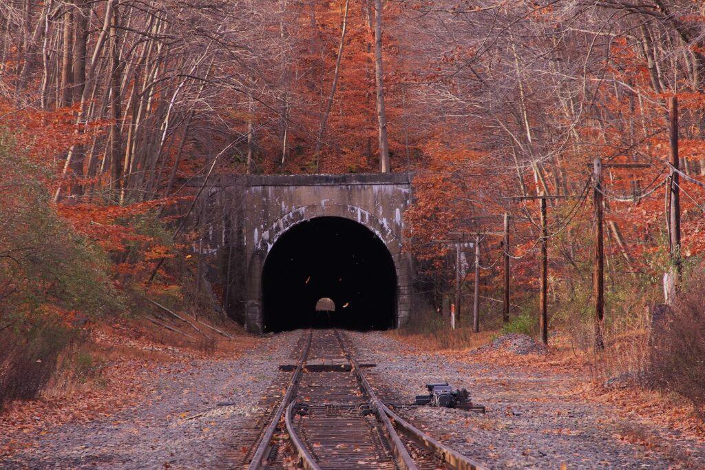 railway tunnel in autumn