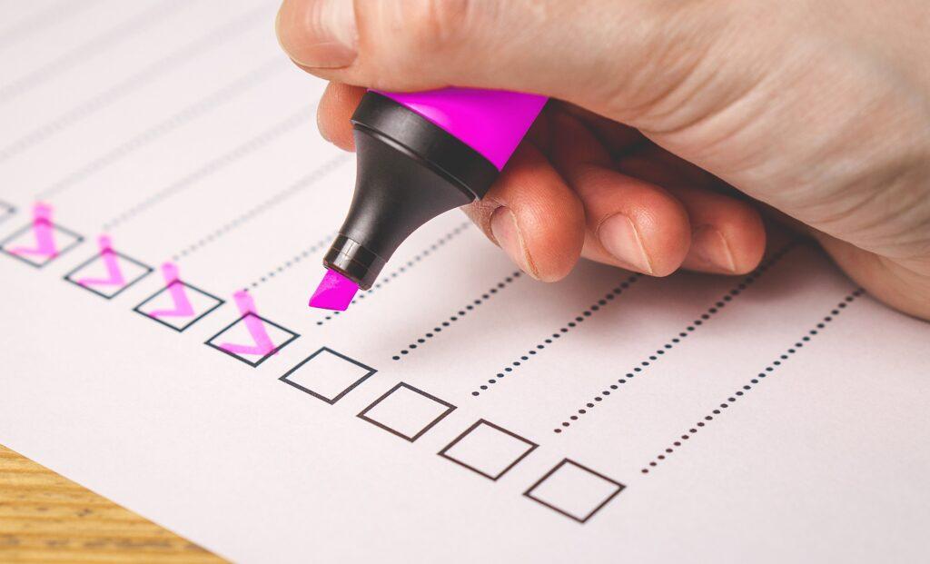 checklist with highlighter pen