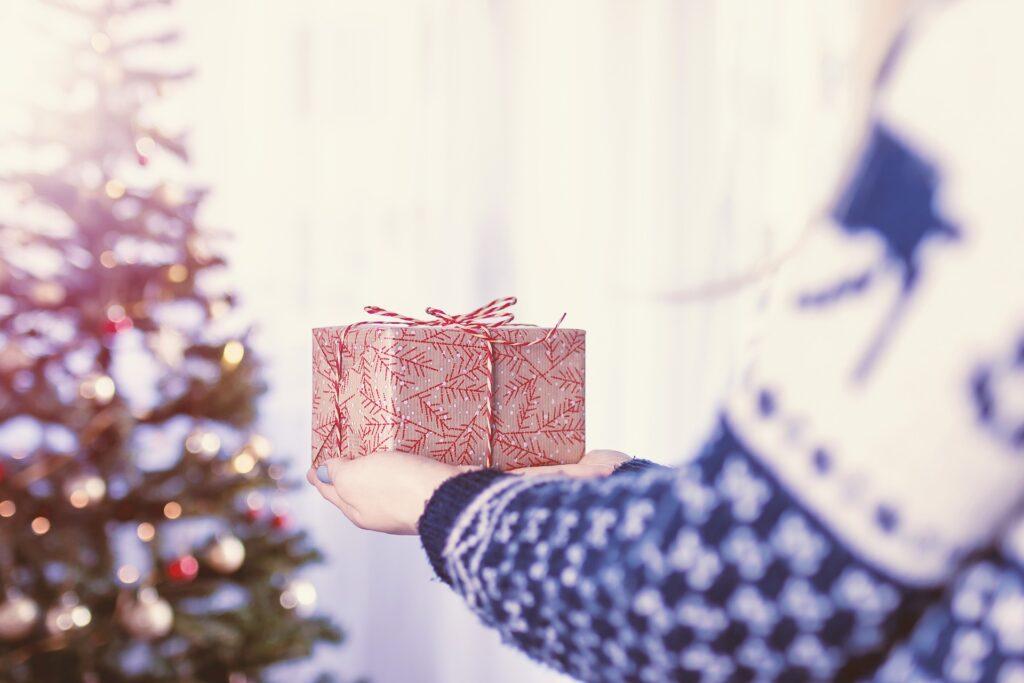 woman holding present