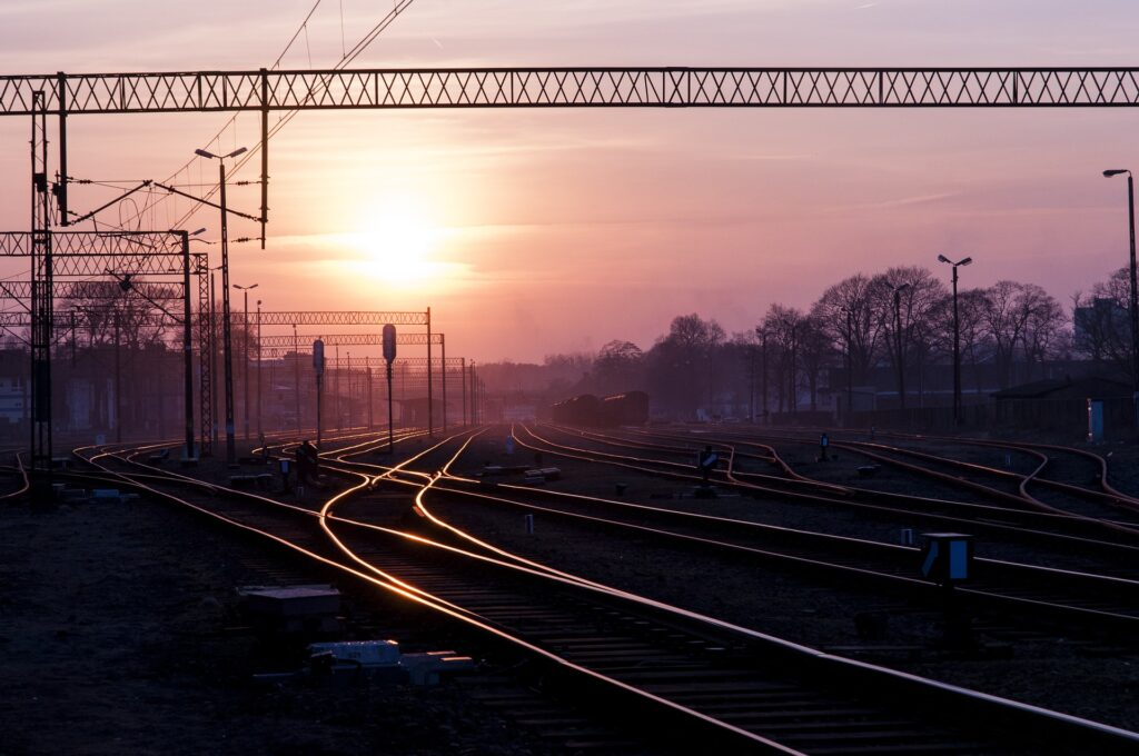 railway lines at dusk