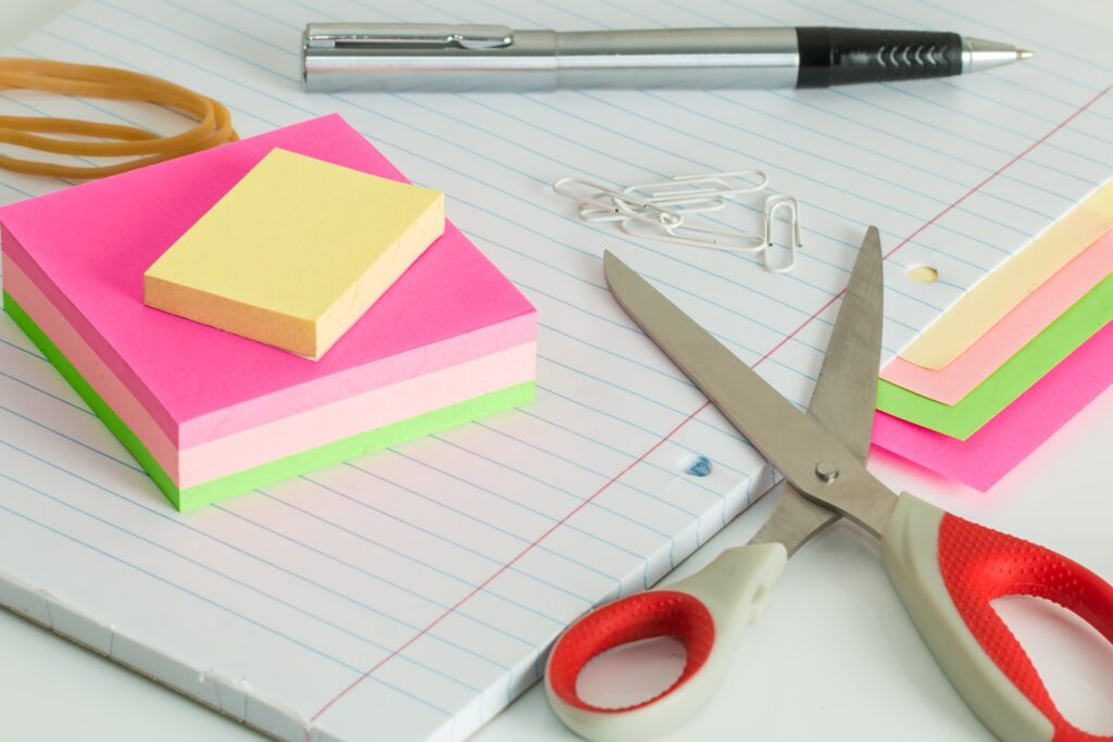 stationery and scissors
