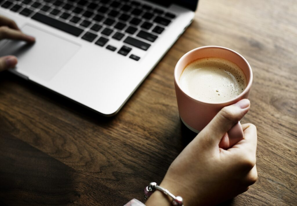 laptop and hot drink