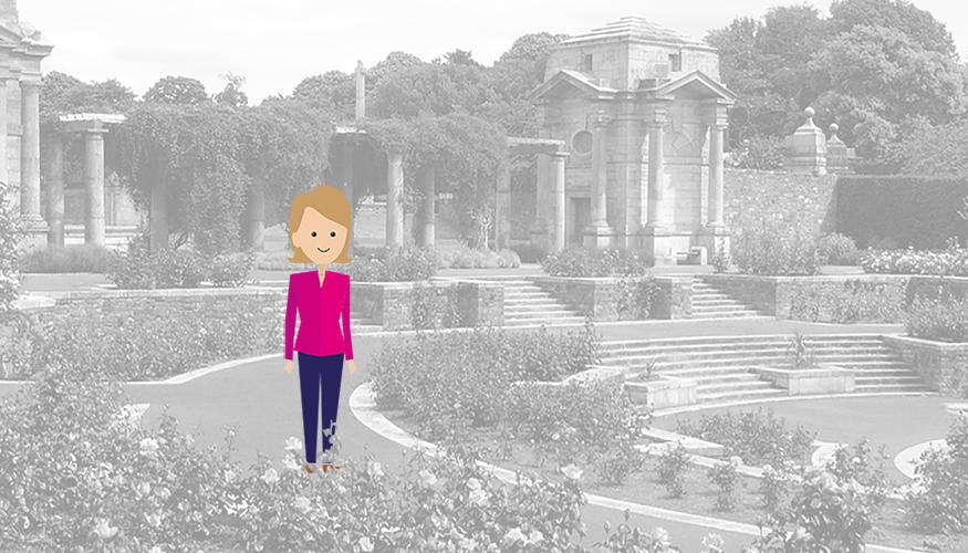 Quantum figure walking in York gardens