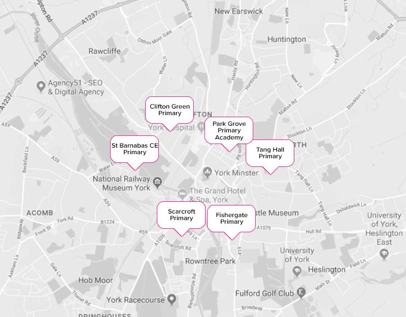 York primary schools city centre map