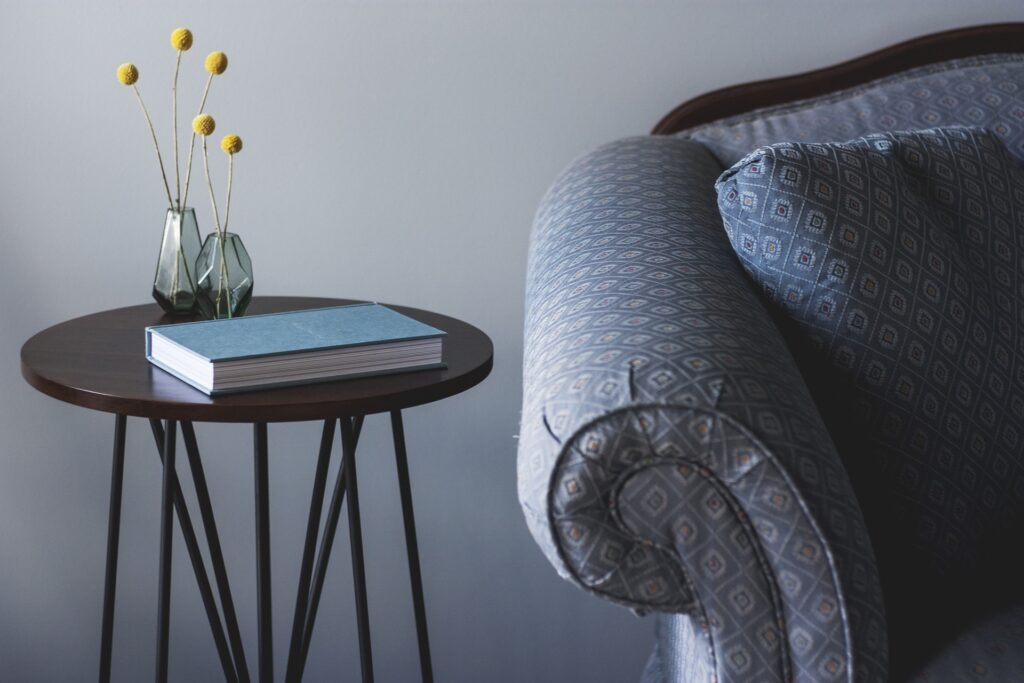 sofa with book on table