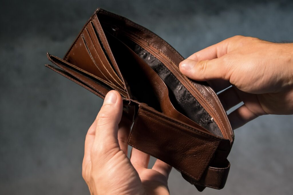 person with empty wallet