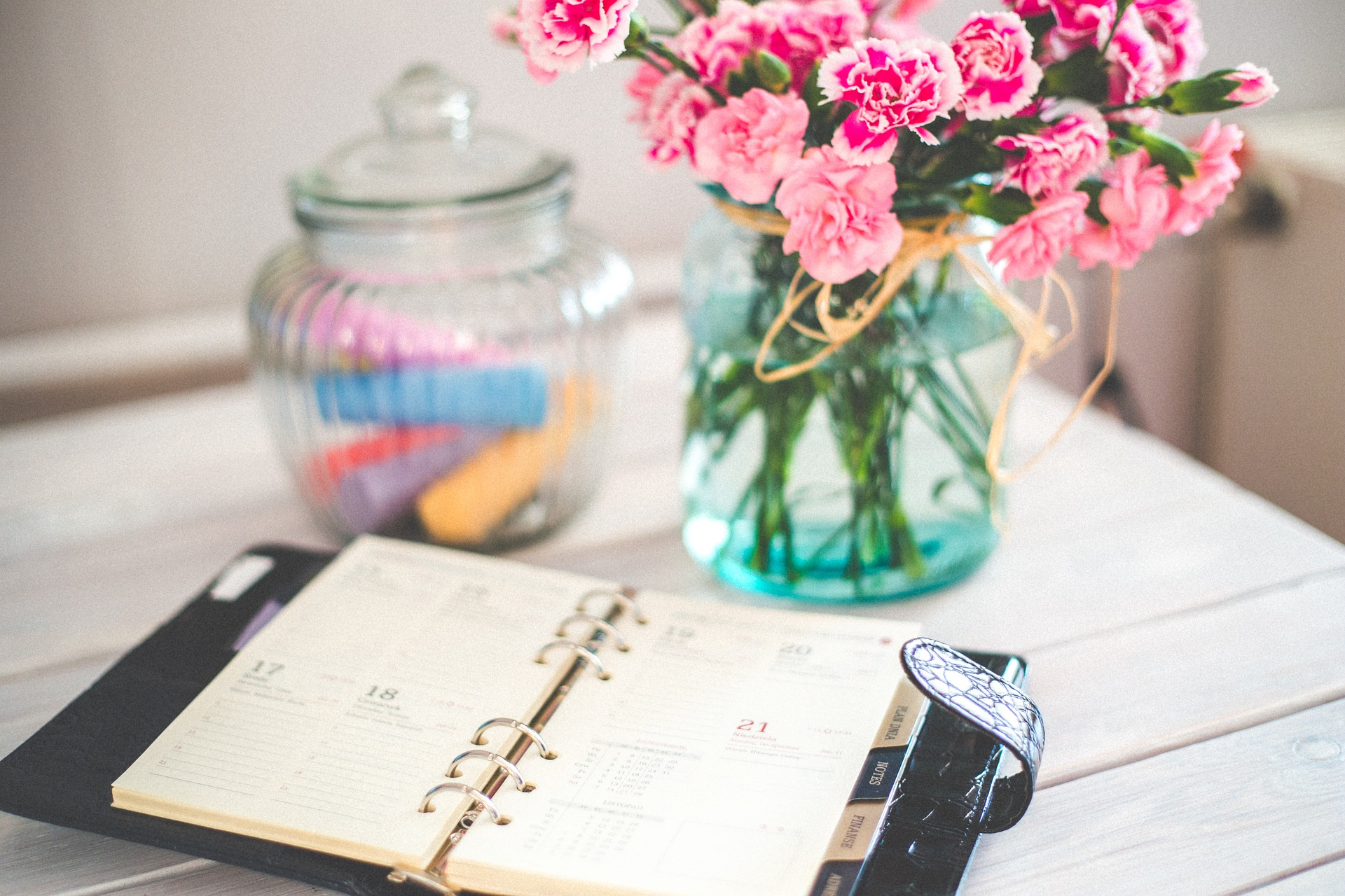 diary with flowers