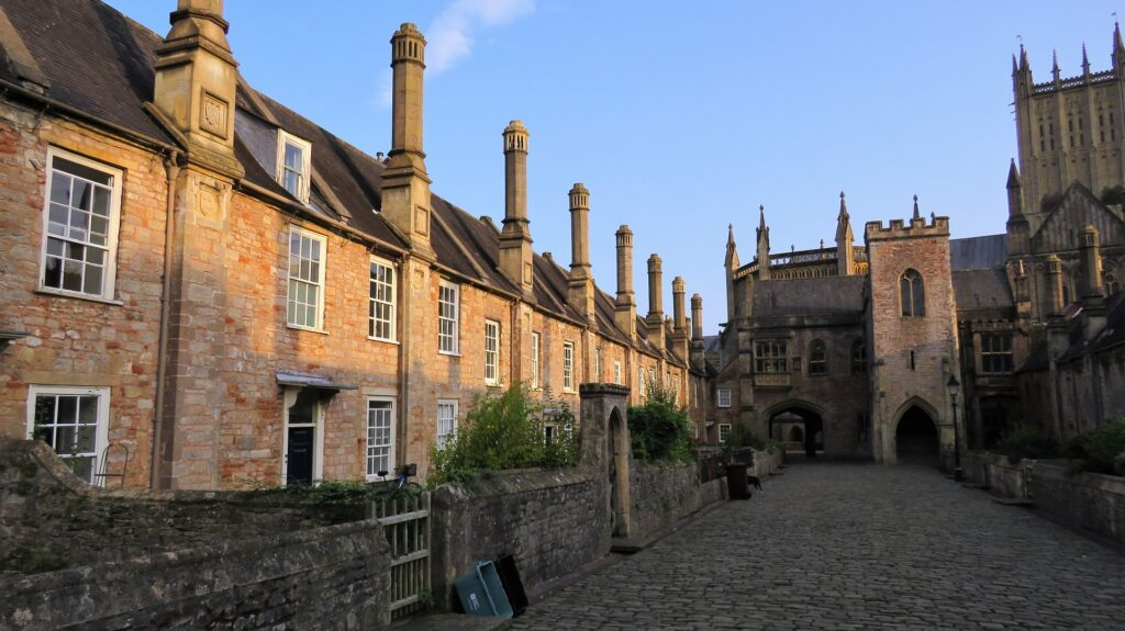 almshouses with church in background