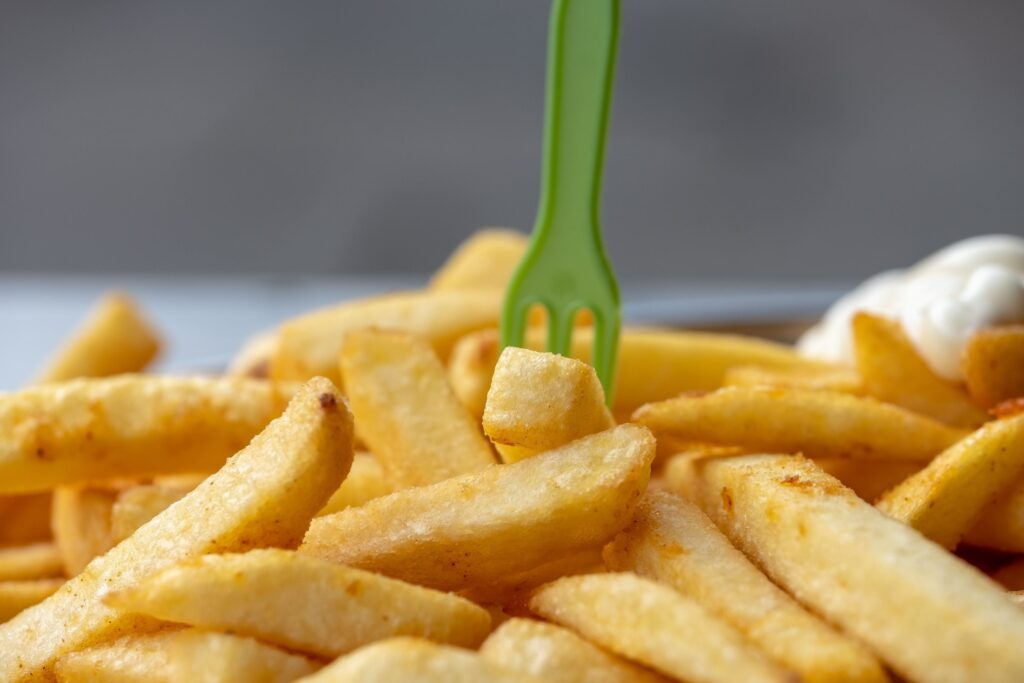 fork standing in chips
