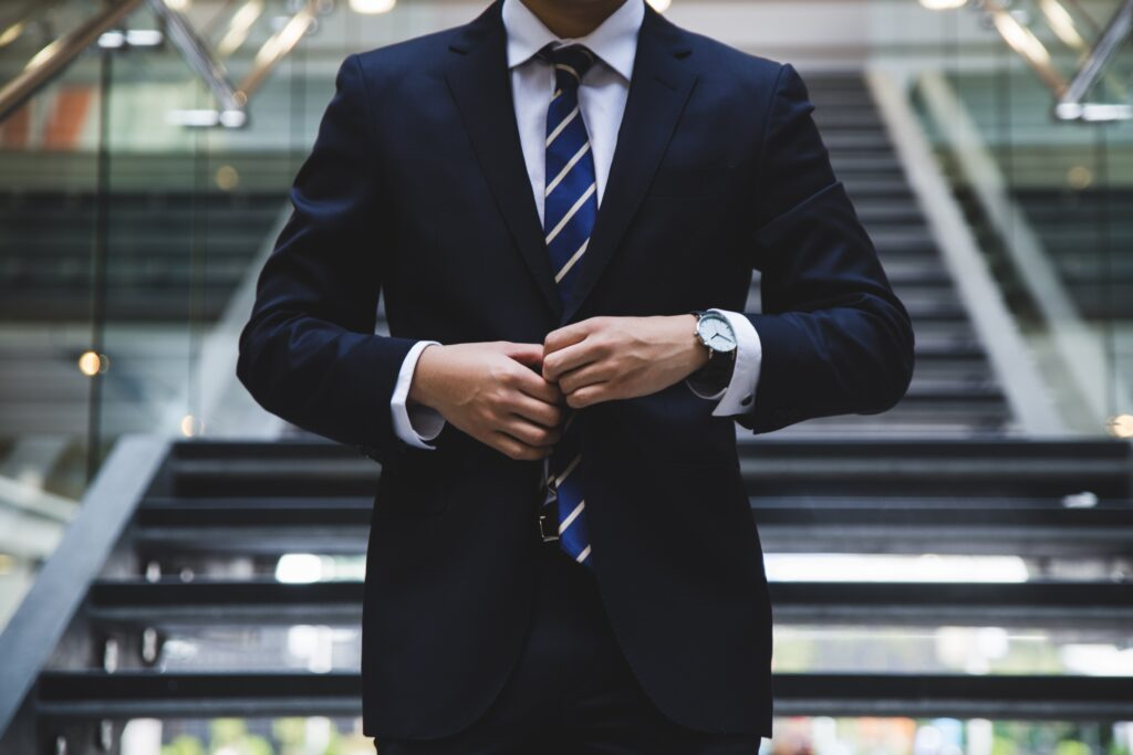 man in blue business suit