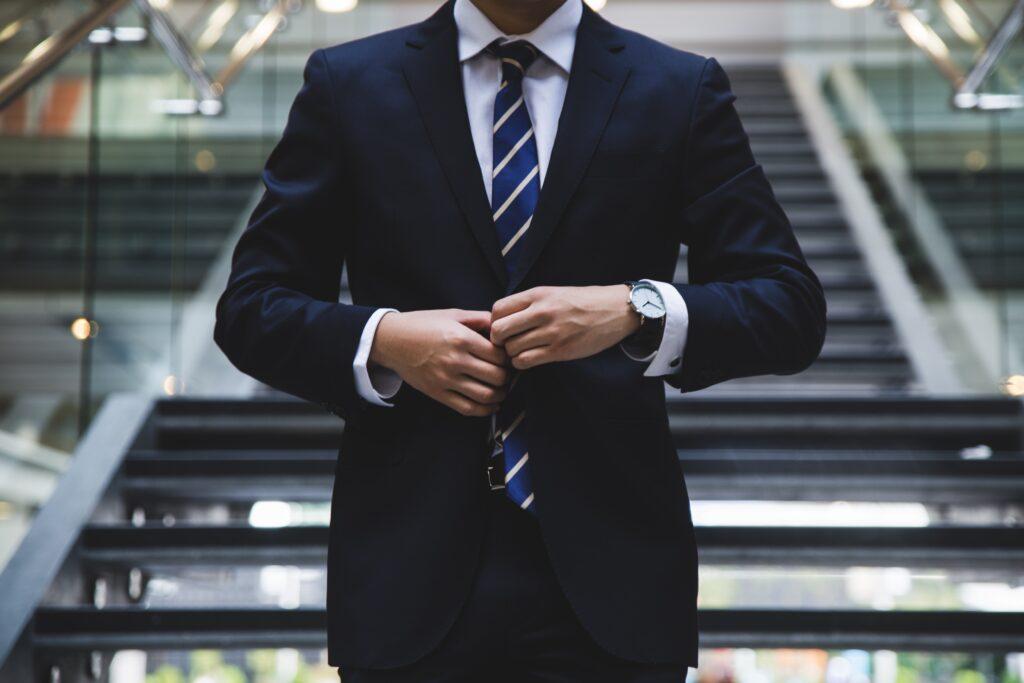 man in blue business suit