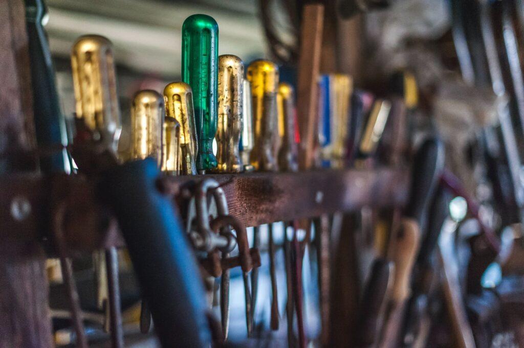 screwdrivers standing in rack