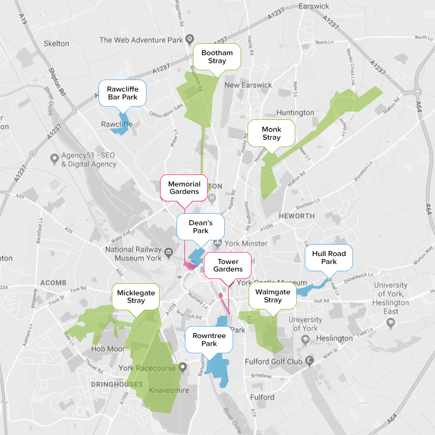 York green spaces map by Quantum Estate Agents