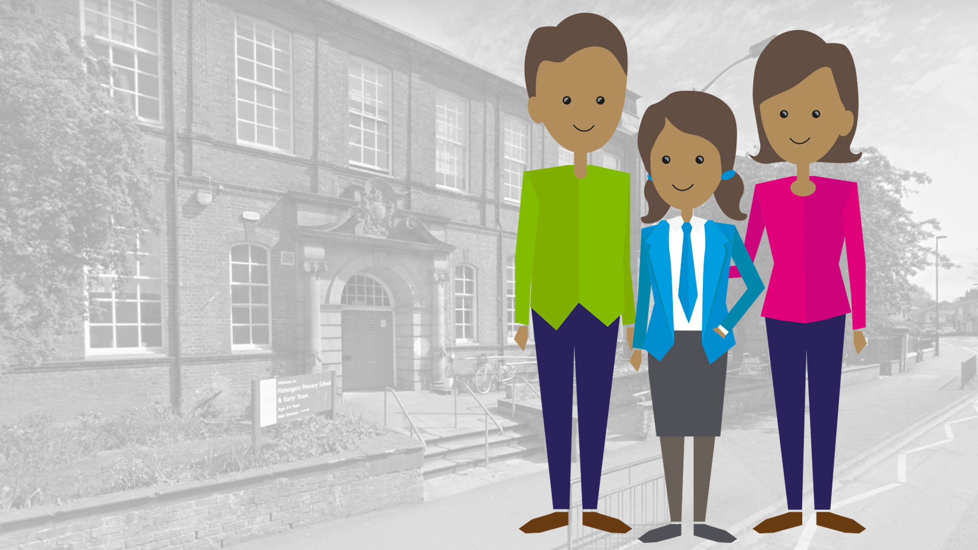 Quantum family and school kid in front of a house