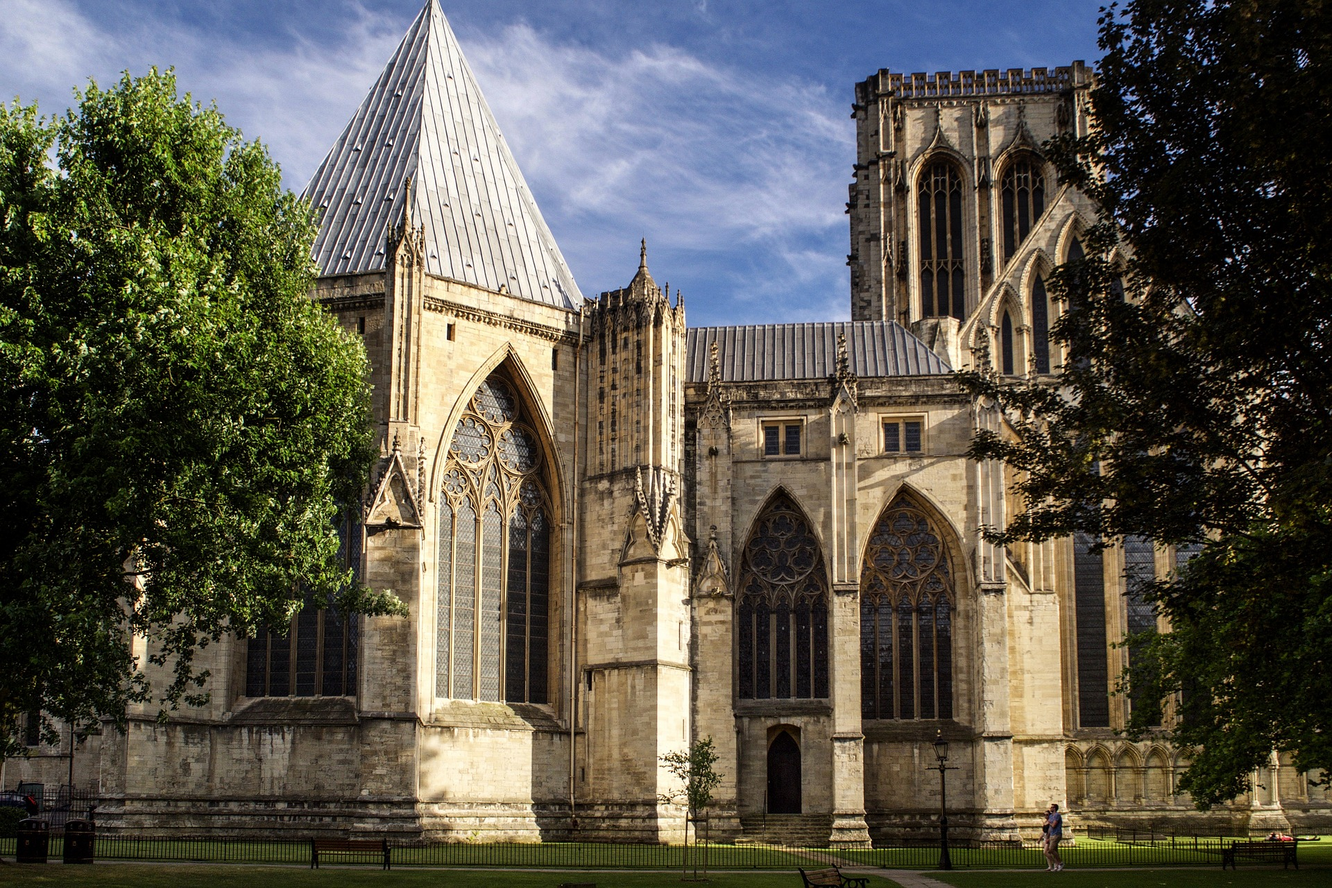 york minster side view with trees