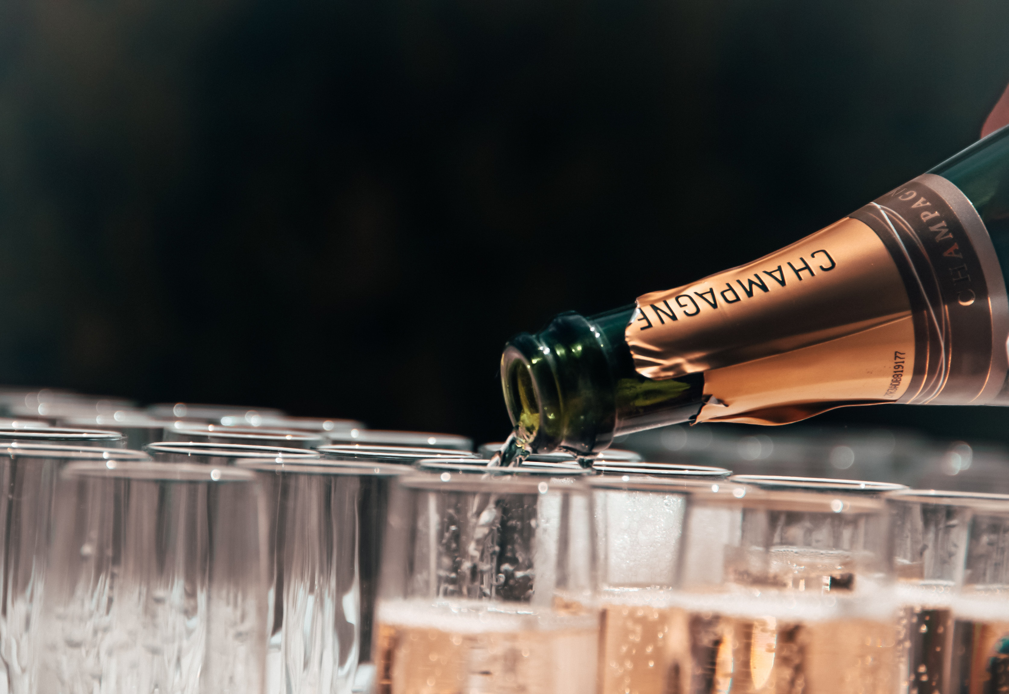 champagne bottle pouring