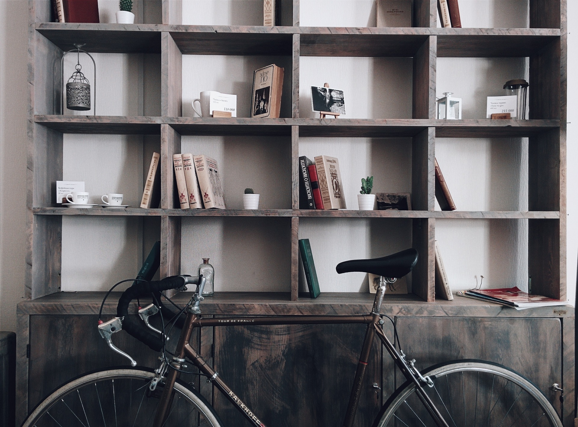 bike and cupboards for storage